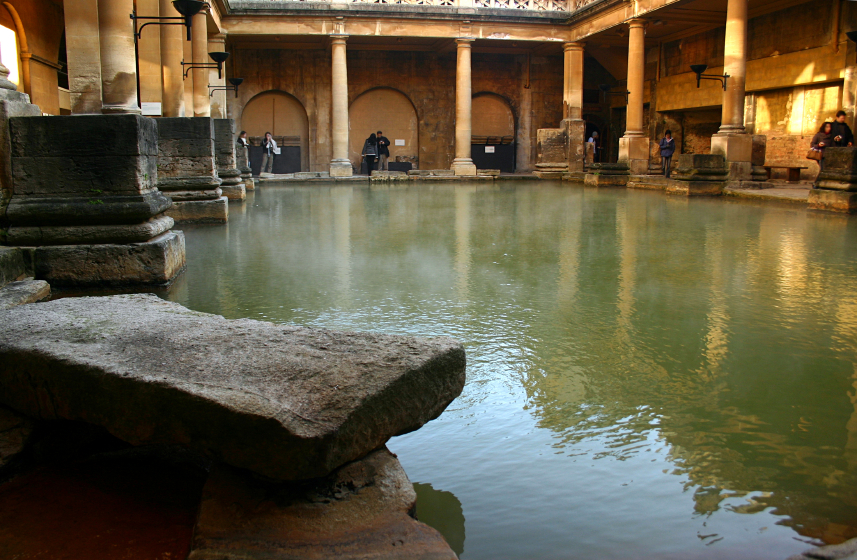The Romans understood the salutary effects of warm waters and built elaborate structures such as this one in Bath, England to enhance their enjoyment.
